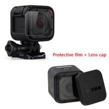 for Go Pro Hero5 Hero4 Session Lens Cap lens Cover Housing Case + Lens Screen Protector Film For Gopro Hero 4/5 Session Camera