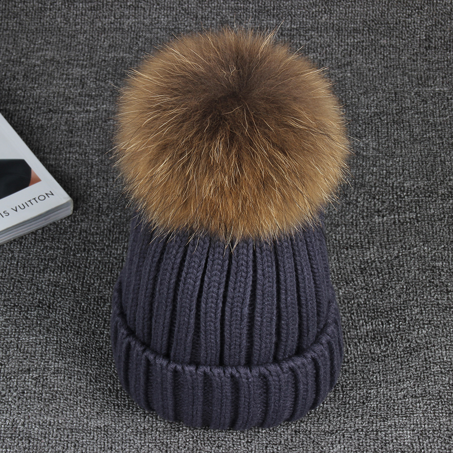 15cm Real Raccoon Fur Pom poms Ball  Knitted Winter Hat For Women Girl 's Cotton Skullies Beanies  Brand New Thick Female Cap white duck down and feather pillow 100% cotton cover king size firm 20 x 59 inch soft pregnant woman sleeping white oversize bed hypoallergenic mother body pillow support this body pillow is perfect for pregnant women and people who have trouble getting