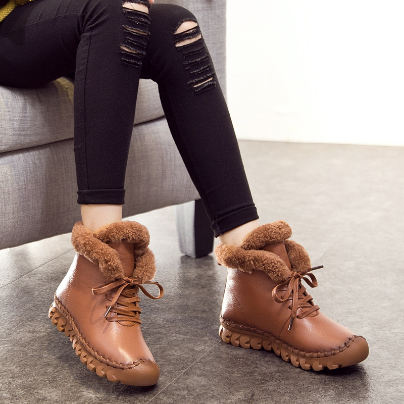 Warm Thick Cotton Winter Boots Women Fashion New Casual Female Genuine Leather