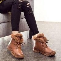 A520 de Algodón Grueso Abrigo de Invierno Botas Mujeres 2017 de La Manera Nuevas mujeres Ocasionales Planos de Cuero Genuino de Las Mujeres Botas de Felpa Corta zapatos