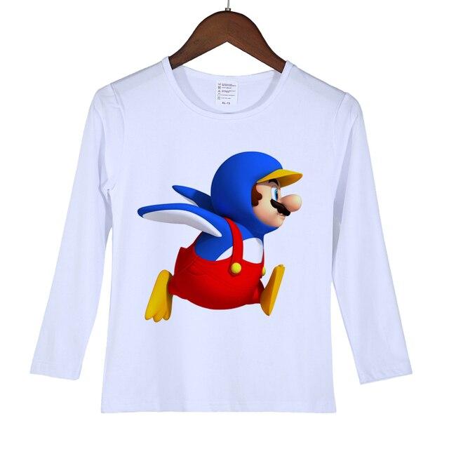 b4e5dcc77 Los bebés del verano ropa niños niñas de dibujos animados Mario Camisetas  manga larga Camiseta Funny