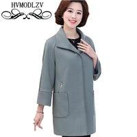 Plus Size Middle Age Women 2017 Autumn Winter Woolen Jacket Long Dark Buckle Windbreaker High Quality