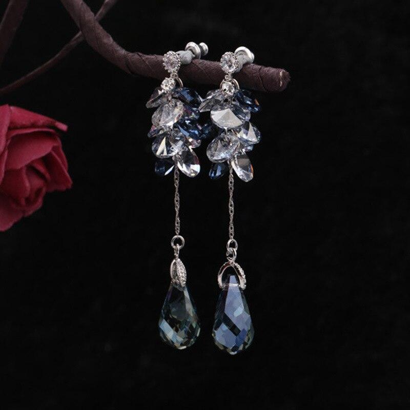 Designer handmade string crystal long Tassel Earrings