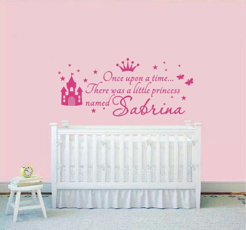 Personalized Girls Name Wall Sticker Princess Beautiful Wall Decals Nursery  Room Baby Girls Name Art Wall