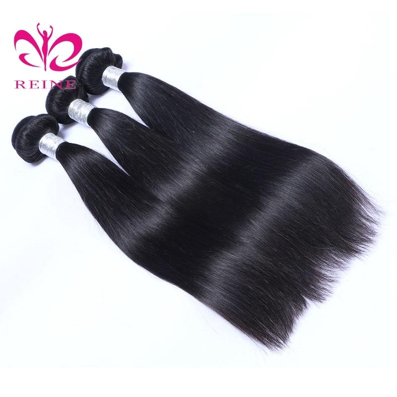 REINE Hair Straight 3 Bundles Mänskligt Hår Brazilian Hair Weave - Mänskligt hår (svart) - Foto 4