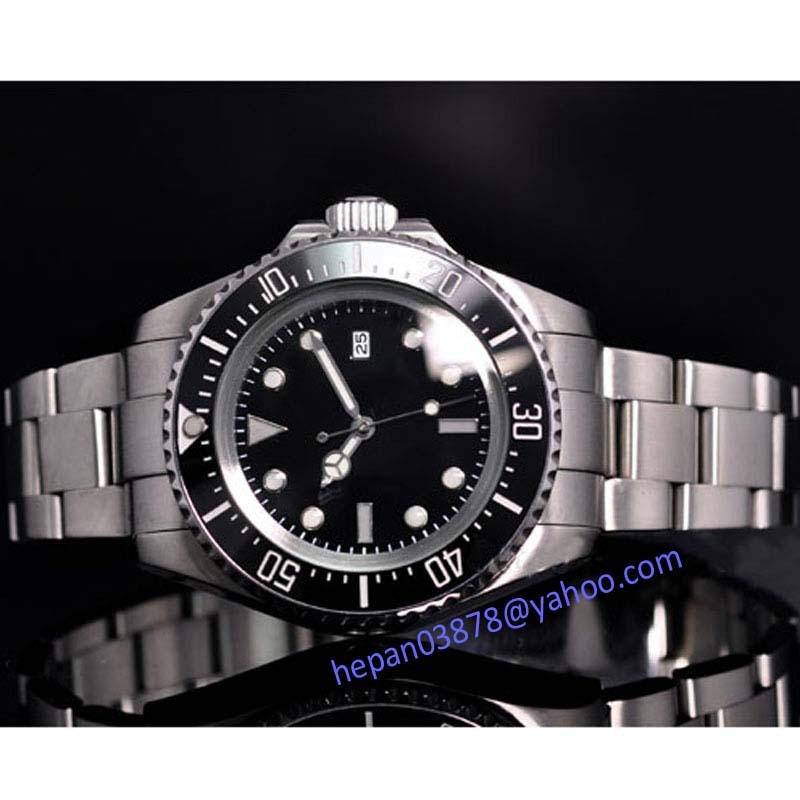 Parnis watch 44mm Sterile black dial luminous Ceramic Bezel SEA Homage Automatic movement Men's watch 65