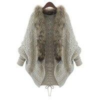 New Batwing knitted shawl cardigan Hoodies women coat Autumn winter 2018 fashion warm jumper knitwear Ladies Fur collar Coats !7