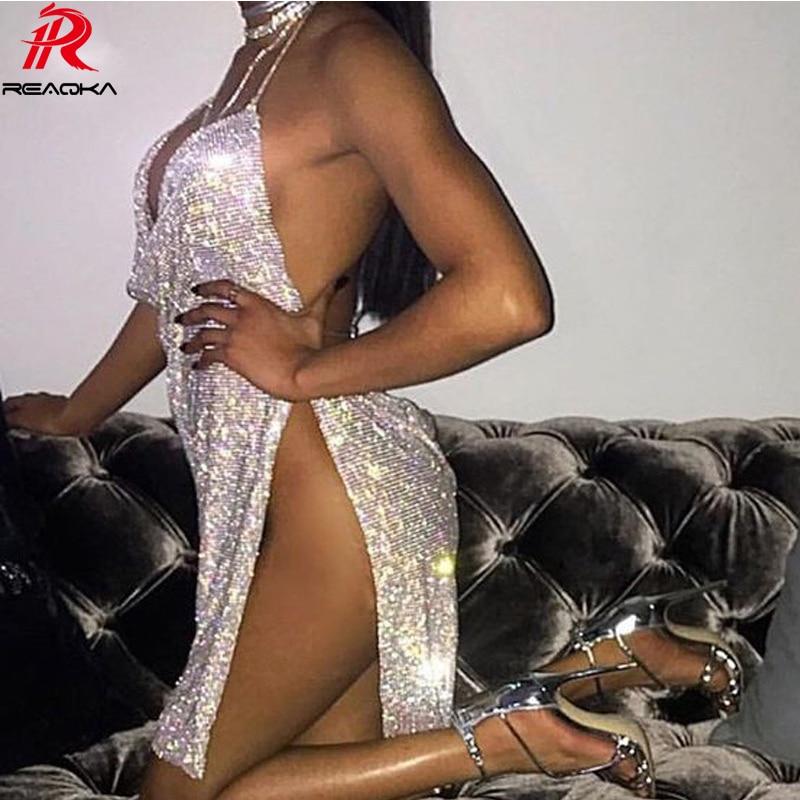 Reaqka Crystal Diamonds Metal Halter Shining Summer Dress Women Beach Dress Sequin Mini Sexy Party Dresses 2018 New Vestidos