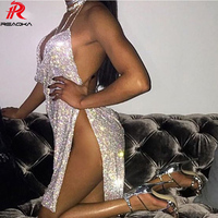 Reaqka Crystal Diamonds Metal Halter Shining Summer Dress Women Beach Dress Sequin Mini Sexy Party Dresses 2018 New Vestidos