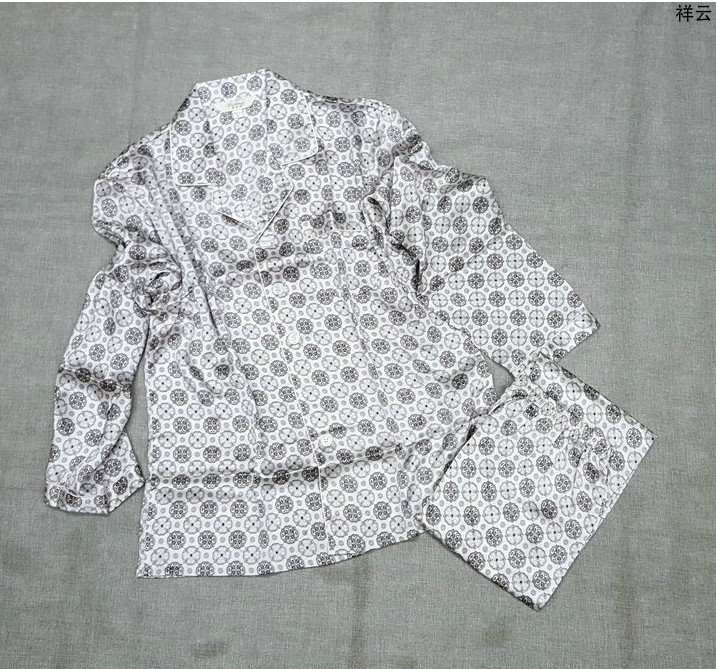 100% mulberry silk pajamas suit, mens silk home wear, long sleeve trousers, cloud printing, big size, loose burst 11