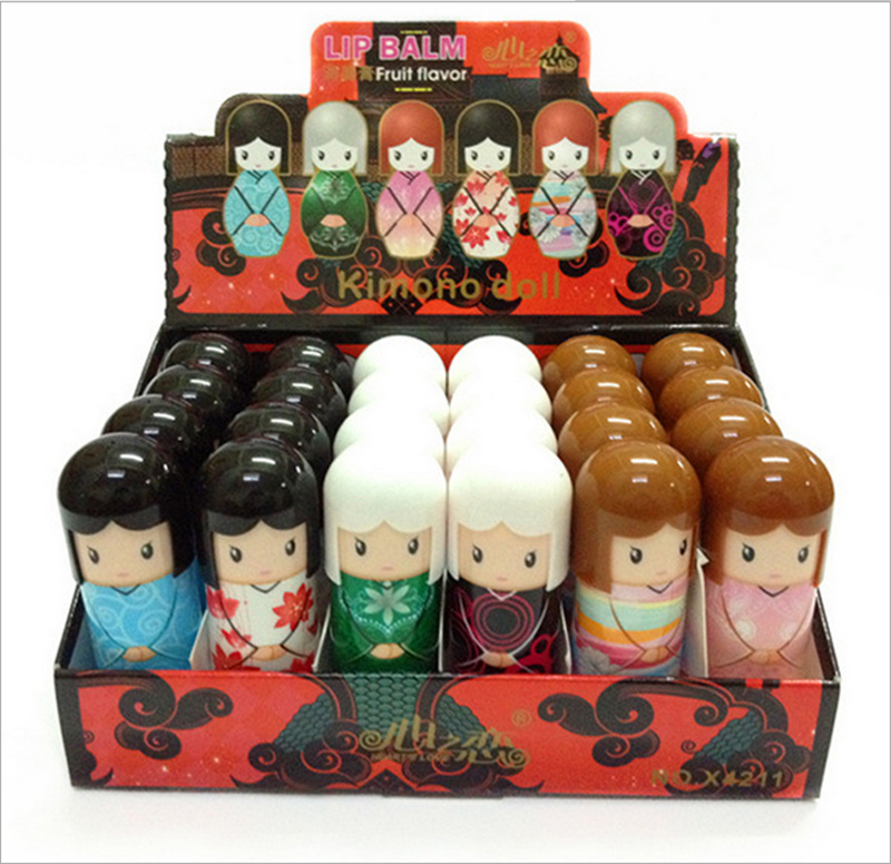 2016 New Arrival 24pcs Magic Waterproof Cartoon Kimono Doll Lip Balm Long Lasting Moisturizing Lipstick Women Lip Makeup
