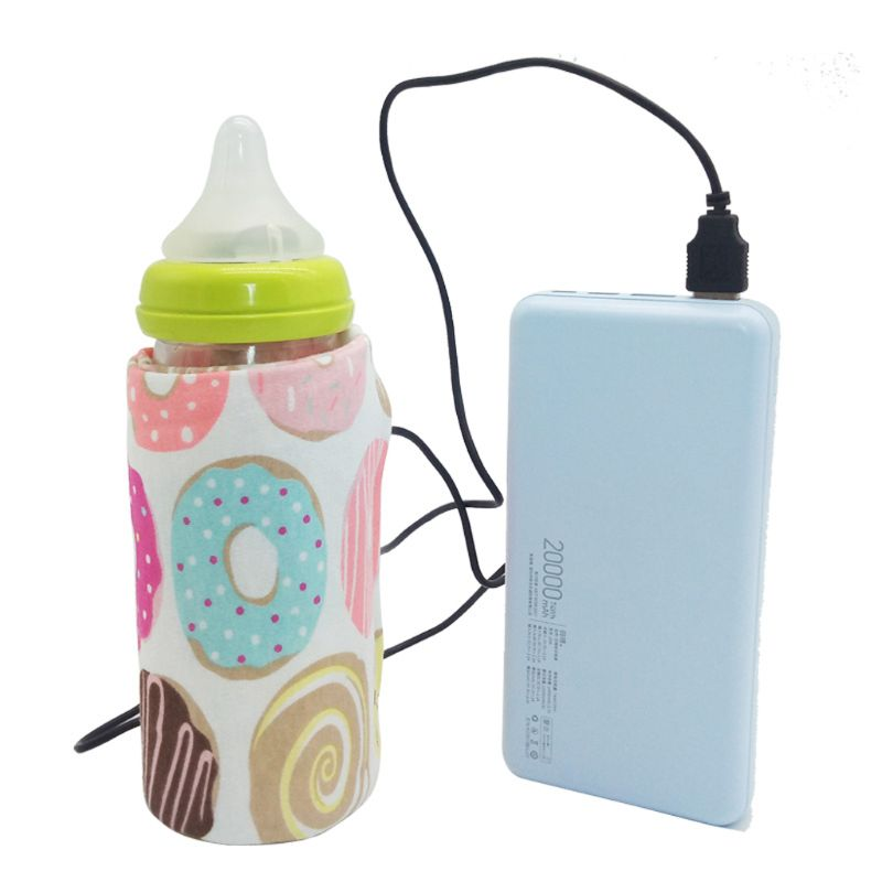 Travel Stroller USB Heat Preservation Milk Water Warmer Insulated Floral Printing Bag Baby Nursing Bottle Heater 6 Colors