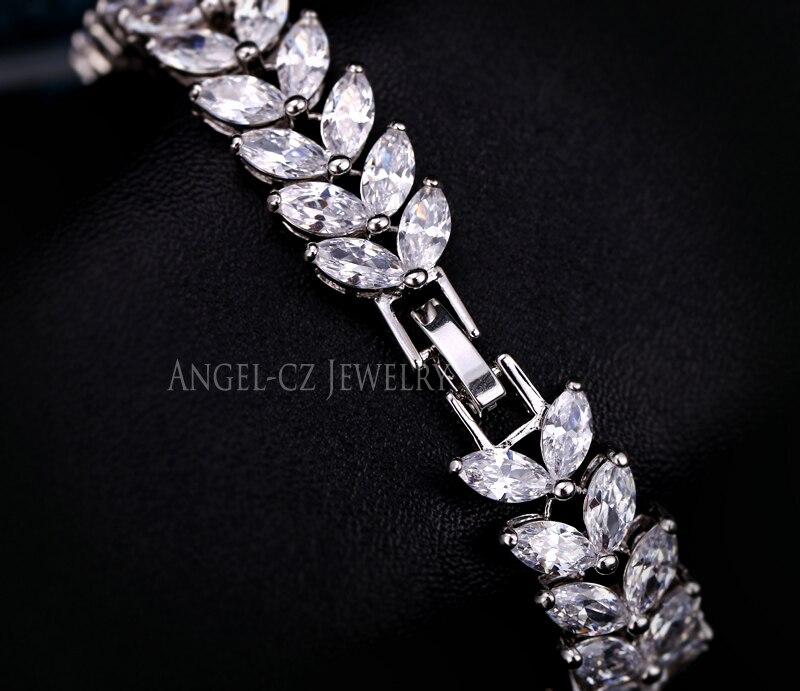 ANGELCZ 18 New Design Women Dress Jewelry Leaf Cubic Zirconia 925 Sterling Silver Strand Bracelet With Red Black Stone AB007 16