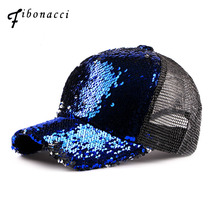 2e716b9fa95 Fibonacci 2018 New Summer Female Sequins Mesh Baseball Cap Hat Women  Melanin Ponytail Chicago Cubs Snapback
