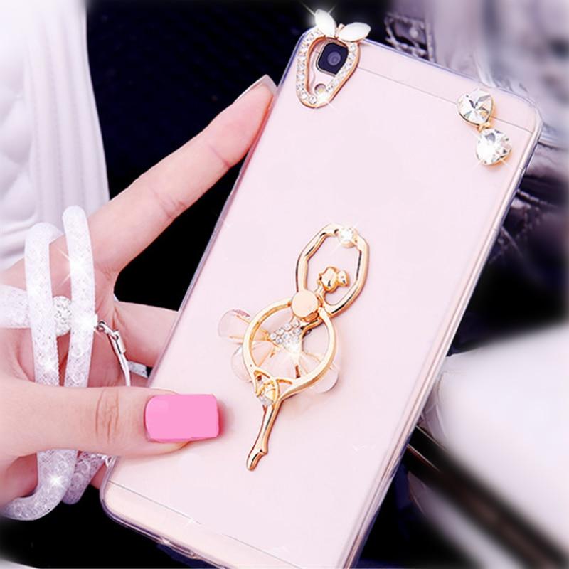 Dancer Ballet Girl Rhinestone Finger Ring Smart Phone Stand Holder Mobile Phone Holder Stand For IPhone Huawei All Smart Phone