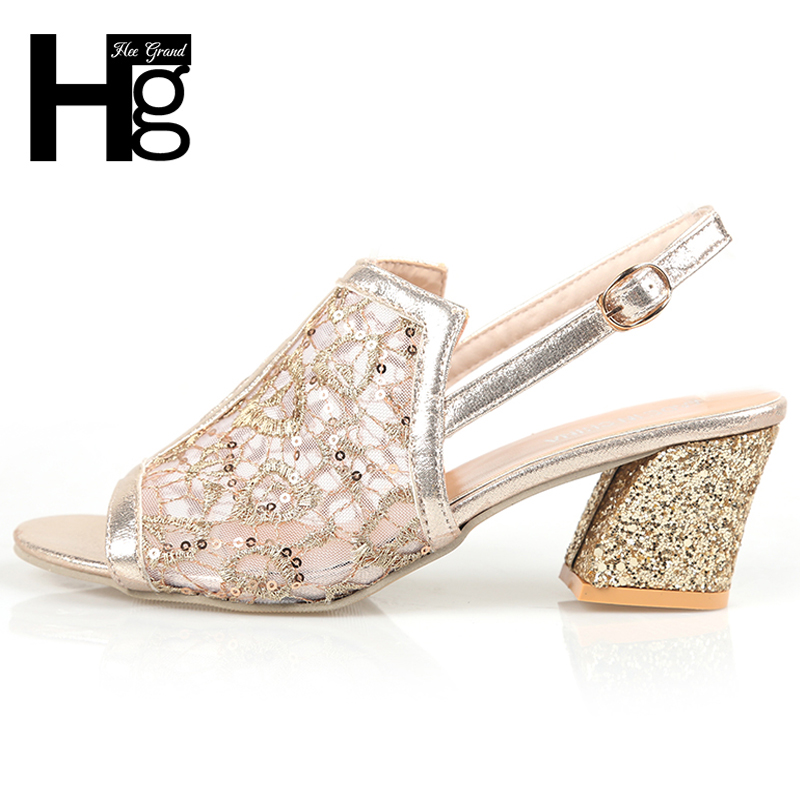 HEE GRAND Gladiator Women Summer Sandals Gold Square High Heels Sexy Summer Style Party Wedding Shoes Woman Size 35-41 XWZ5253 hee grand gladiator sandals summer style 2017 new flat with shoes woman zip casual sexy women shoes ladies size 35 39 xwz1858