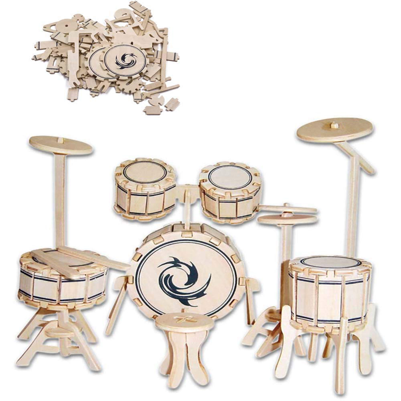 3D Wooden Jigsaw Puzzle Handmade DIY Wooden Puzzle Games Toys For Children Jazz Drum Set Assemble Games