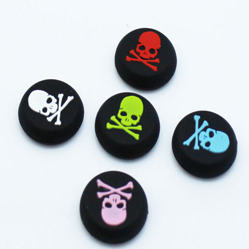 2pcs Skull Thumb Stick Grips Cap font b Gamepad b font Joystick Cover Case For Sony