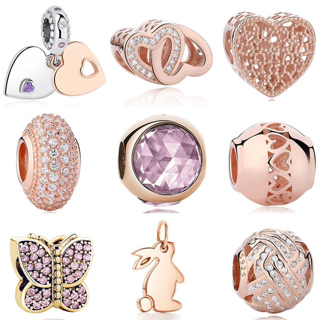 ef0569920 Real 925 Sterling Silver Rose Gold Hearts Family Tree Beads Fits Pandora  Charm Bracelets Original Crystal Clip DIY Jewelry Gifts