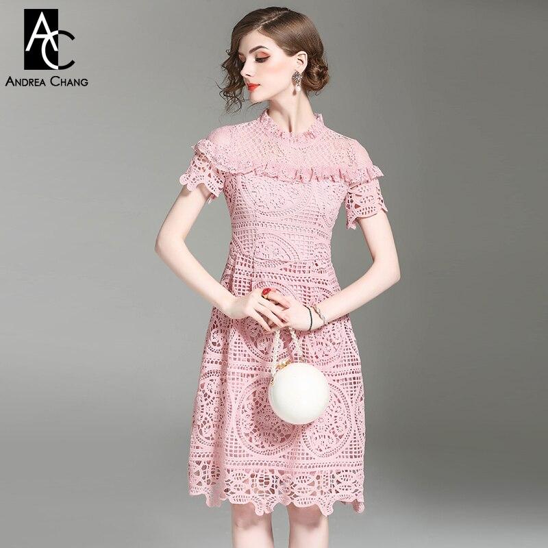 a611481552 spring summer runway designer woman dress pink dark blue knee length ...