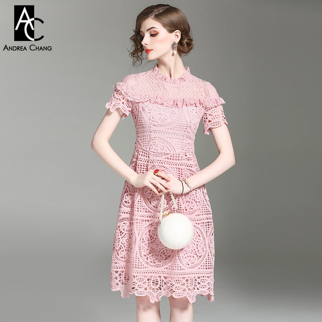 Spring Summer Runway Designer Woman Dress Pink Dark Blue Knee Length Hollow Out Embroidery Lace