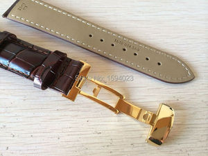 Image 3 - 20mm (Buckle18mm) T019430 High Quality gold Plated Pin Buckle + Brown Genuine Leather Watch Bands Strap