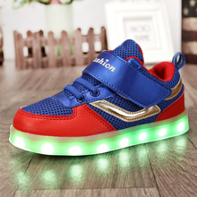 Newest Cool USB Rechargeable Led Light Up Kid Shoes Girl And Boy Mixed Color Mesh Children Charging Luminous Sneakers Size 26-37