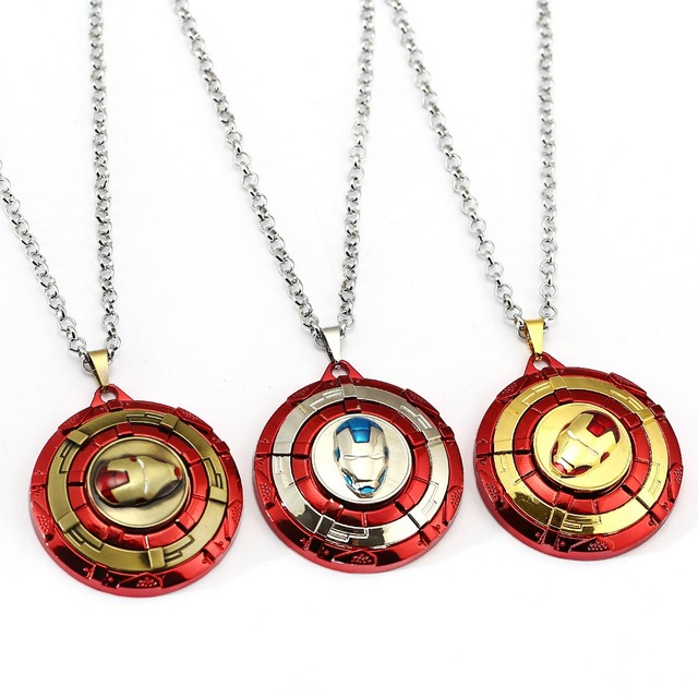 7 colors Iron Man Necklace The Avengers Rotatable Pendant Fashion Stainless Steel Ironman Necklaces Gift Jewelry Accessories