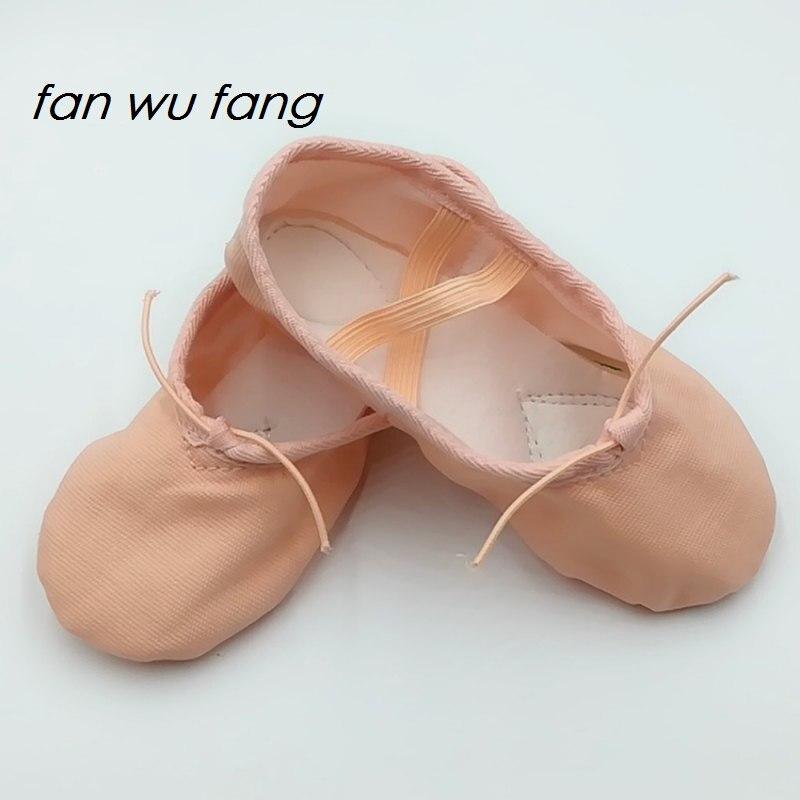 fan wu fang Beige Tela Cabeza Zapatillas de baile Zapatillas de ballet Suela blanda Práctica Zapatos Zapatillas de yoga Según el CM Para comprar