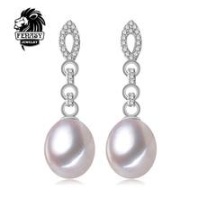 Fenasy perla pendientes de gota de la joyería de la perla gargantilla retro para mujer casual estilo 2017 de la joyería 8-9mm perla encanto pendientes de bohemia