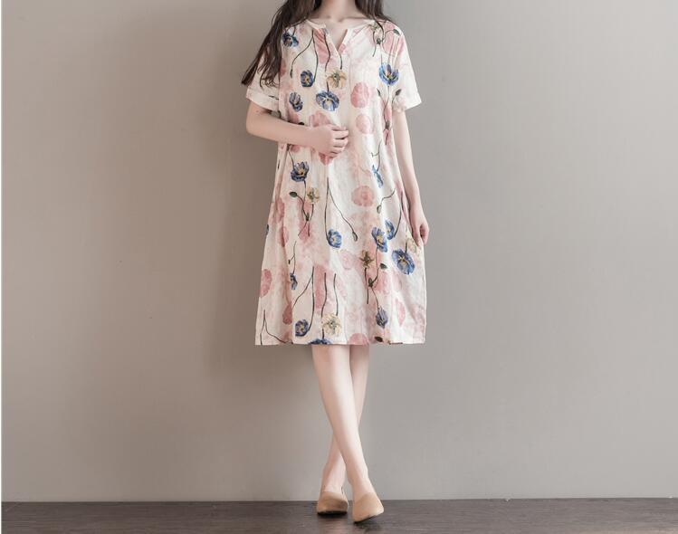 Maternity Clothes Summer girls Print Cotton V Collar Casual Short Sleeve Summer Dress Fashion Loose Pregnant Women Dress