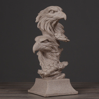 Abstract Bald Eagle Bust Statue Handmade Sandstone Condor Sculpture Craft Present Ornament Furnishing for Home and Office Decor