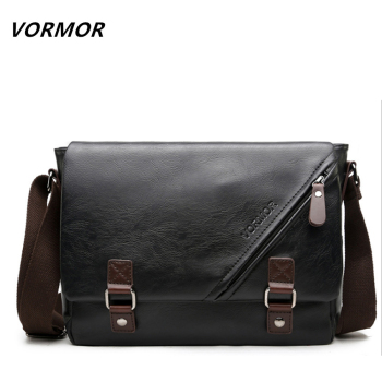Men Messenger Bag Vintage Large Horizontal Black Satchel Bag With Double Belt Casual Mens Handbag