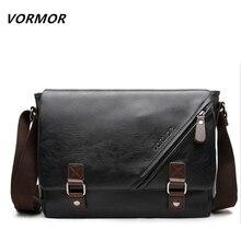 Vormor promotionnel hommes messenger sac vintage grand horizontal noir satchel sac avec double ceinture casual hommes sac à main chaude