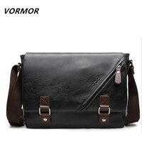 VORMOR Promotional Men Messenger Bag Vintage Large Horizontal Black Satchel Bag With Double Belt Casual Mens