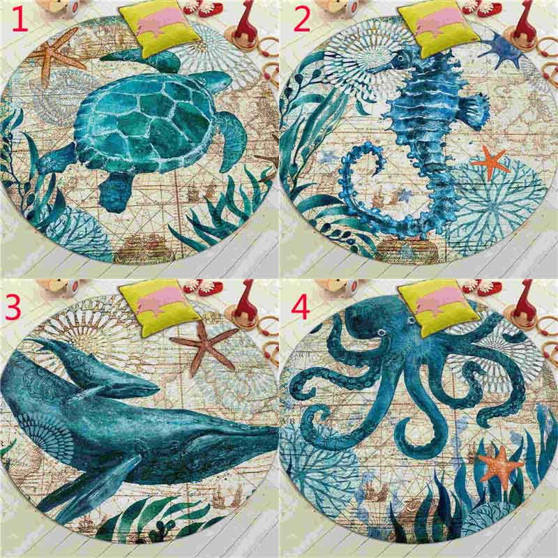 Coral Velvet Computer Chair Floor Mat Sea Turtle Octopus Printed Round Carpet for Children Bedroom Play Tent Area Outdoor Rug