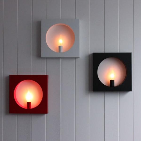 ФОТО Modern Wall Lighting Red/Black/White Body 260*260*50mm 90~260V E14 Bedside Reading Lamp Bedroom Lighting High Qualtity