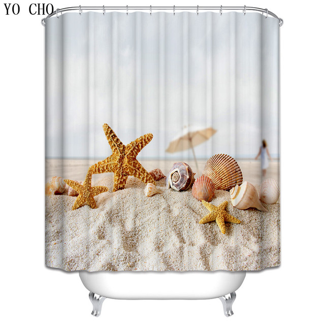 Bathroom Curtain Beach Scenery Fish Octopus Boat Fabric Bath Shower Hooks Starfish Polyester Waterproof