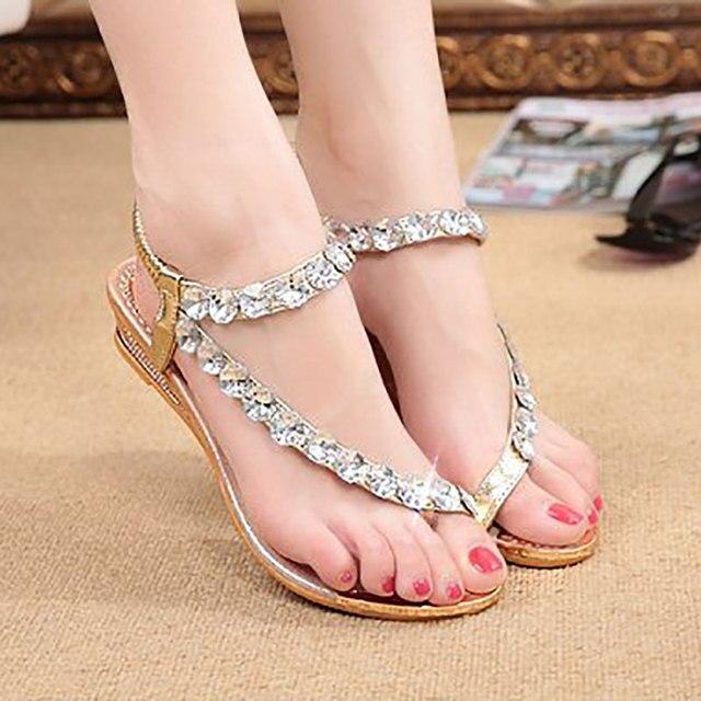 73346a785 2017 paillette female sandals rhinestone flip-flop women s shoes  flatbottomed sandalsToe Thong Elastic Band Plain