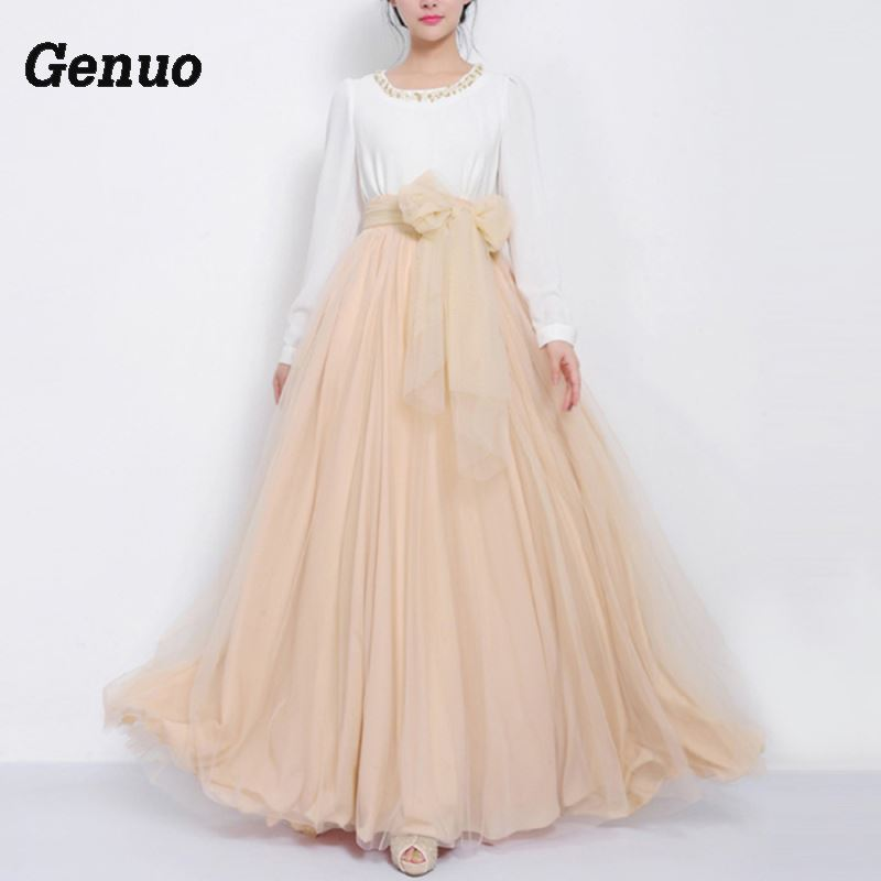 Genuo Tulle Skirts Summer 2018 Women Tulle Mesh Full Skirt Elastic High Waist Pleated Long Skirt Elegant Party Dancing Ball Wear in Skirts from Women 39 s Clothing