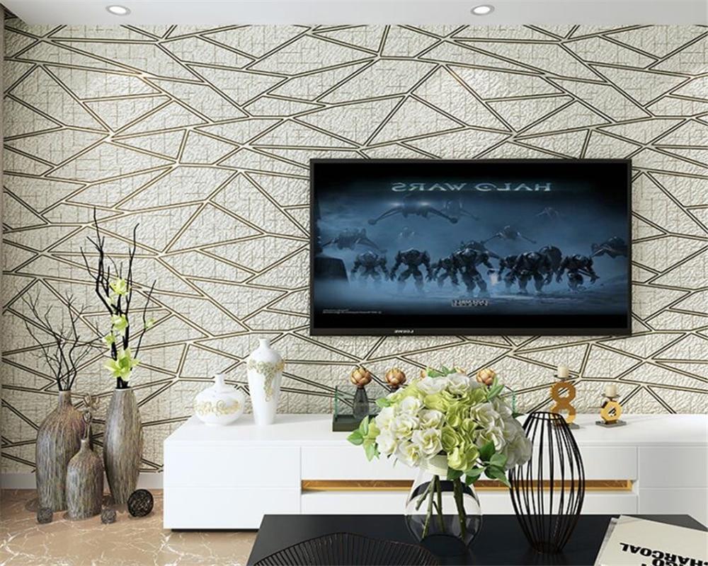 Beibehang 3D Deluxe Wohnzimmer TV Hintergrund 3d Wallpaper Moderne  Schlafzimmer Tapete Beige Braun Tapetenbahn Papel De Parede