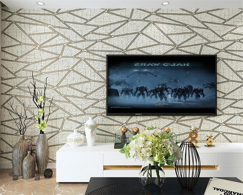US $56.88 21% OFF|Beibehang 3D Deluxe Wohnzimmer TV Hintergrund 3d Tapete  Moderne Schlafzimmer Tapete Beige Braun tapete rolle papel de parede-in ...