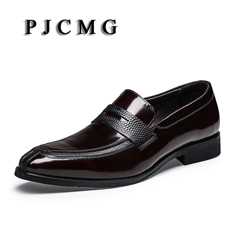 PJCMG New Breathable Mens Business Lace-Up Black/Coffee Pointed Toe Formal Dress Genuine Leather Wedding Oxfords Office Shoes pjcmg new black red mens oxfords crocodile pattern lace up pointed toe genuine leather business formal men wedding office shoes