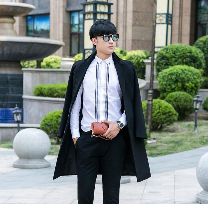 Mens coat business casual suit collar long coat mens single-breasted woolen coats mens cashmere coat black blue casaco masculino