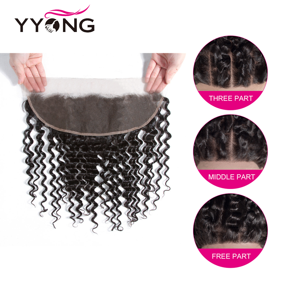 Yyong Hair 3/4  Deep Wave Bundles With Frontal 100%   Bundles With 13x4 Lace Frontal Can Be Dyed 5