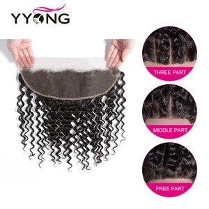 Image 5 - Tissage en lot Deep Wave brésilien Yyong, cheveux Remy, cheveux 3/4 naturels, avec Lace Frontal 13x4, peuvent être teints, en lot 100% naturel
