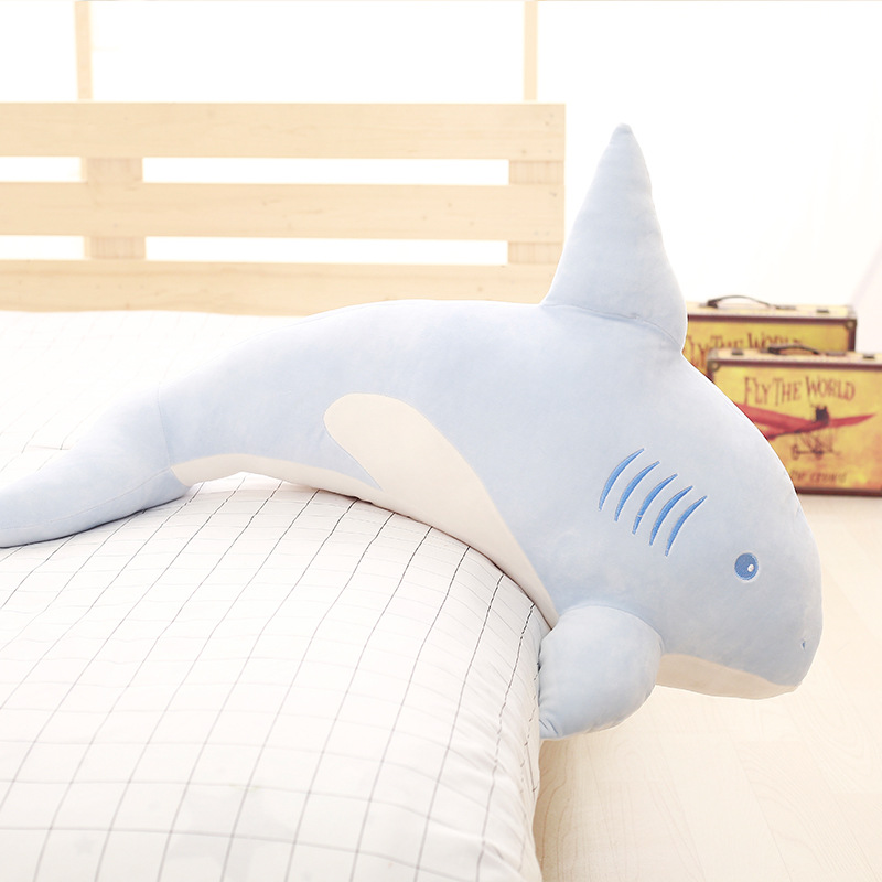 Gros peluche doux requin jouet peluche bleu requin oreiller poupée cadeau environ 90 cm 2580