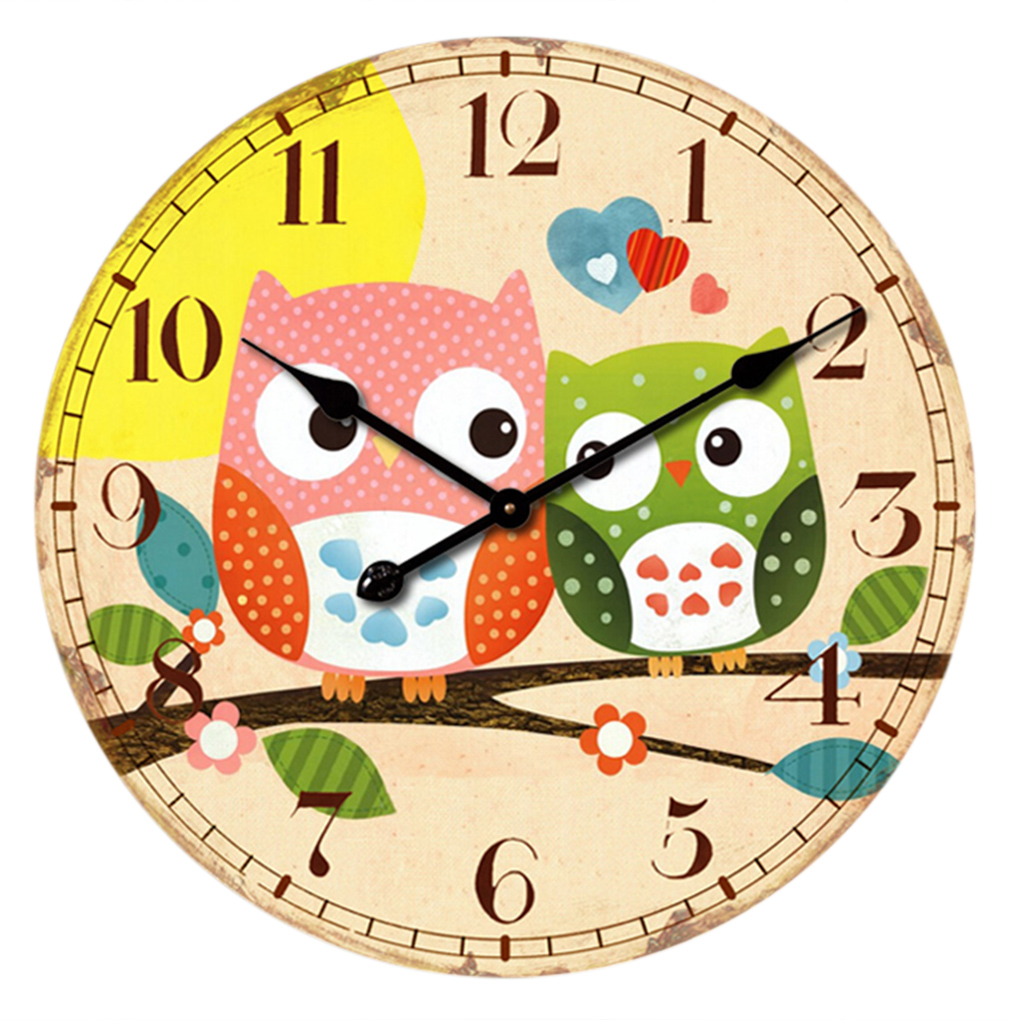 Vintage 14inch home digital round wood wall clocks owl printing 1clock not include battery amipublicfo Choice Image