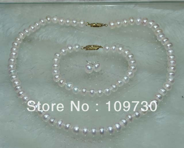 Jewelry 00345 wholesale 10 Sets white pearl Necklace Bracelet & Earring 925 silver stud luxusteel gold silver color round opal stainless steel earring sets nickel free stud earring wholesale jewelry