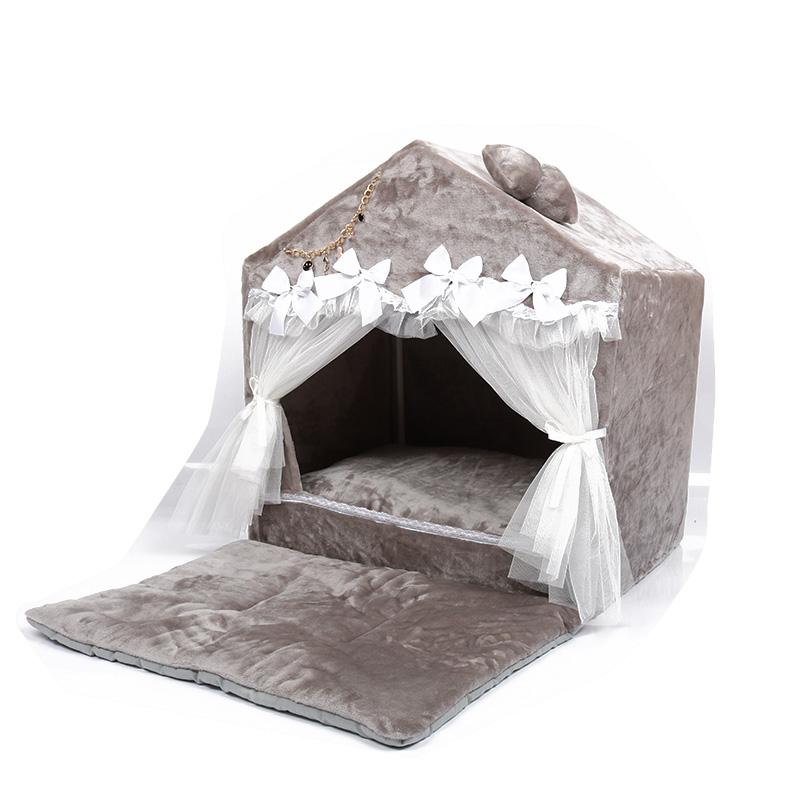 2018 Pet supplies new fashion Korean pet dog bed portable house foldable house lace pet bed princess dog bed washable dog house